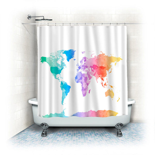 Custom Shower Curtains -Pastel Watercolor World Map on White Background- Standard or Extra Long