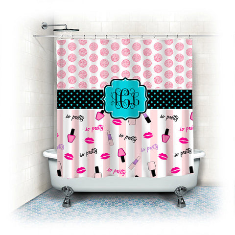 Custom Shower Curtains -Makeup Theme with Dots- Standard or Extra Long