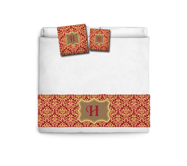 Custom Personalized Bed Runner - Scarf -Haute Red & Butter Damask- 3 bedding sizes and accessory pillows