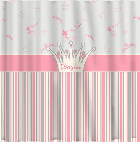 Tiaras and Stripes Shower Curtain - Princess Theme in Pink, Grey & Off White - Personalized
