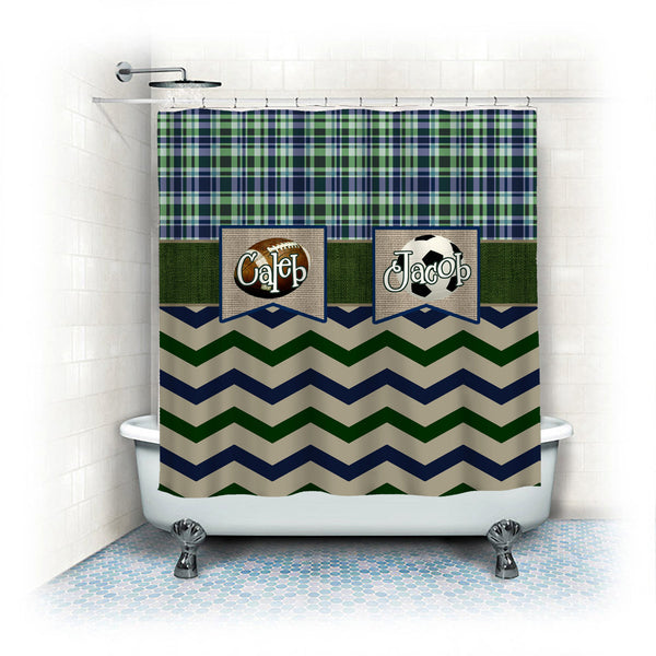 Custom Colors Shower Curtain -Vintage Sport Theme- Any Sport, ANY colors and Accent