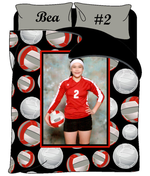 Custom Volleyball Photo Theme Bedding  - Personalized with your Photo, Name -Twin, Queen or King Size - Ball colors can be changed