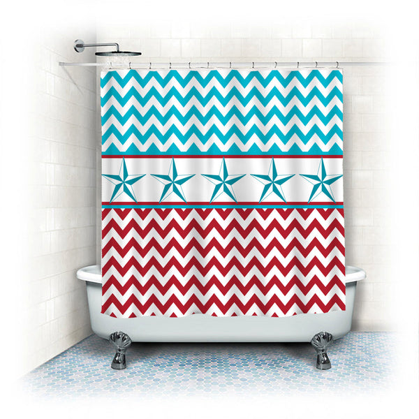 Custom Personalized Texas Star and Chevron Shower Curtain (4 Versions Available)