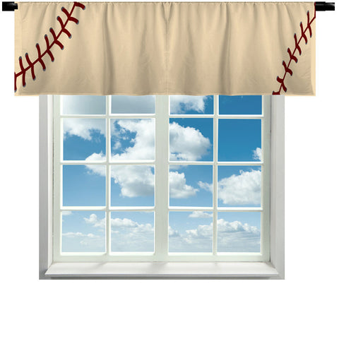 Custom Window Curtain Or Valance Stitched Baseball Theme Vintage Color Featured Any Size