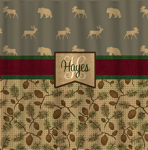Custom Personalized Designer Shower Curtain -Lodge Animals and Pine Cones with Burlap Accents- Std and Ex Long