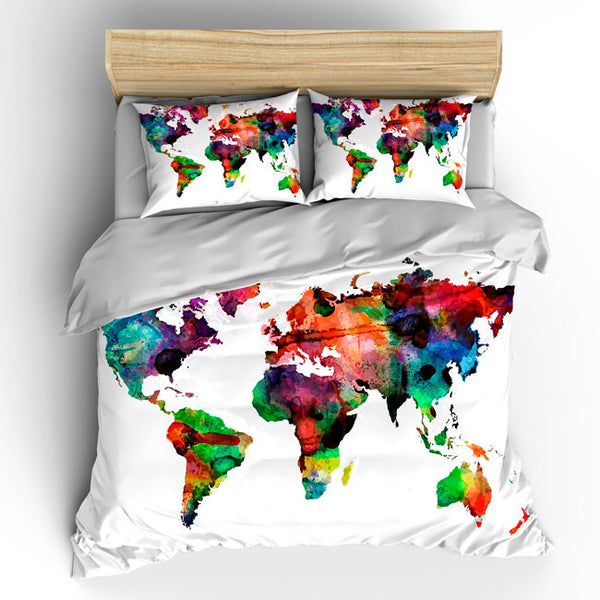 Custom Bedding Duvet Cover-Watercolors on White World Map - Tw, Qu or Ki, Pricing Starts Shams