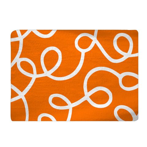 Custom Plush Fuzzy Area Rug - Swirls White on Orange -Size 48x30,  96x44, 96x60-Other Colors available