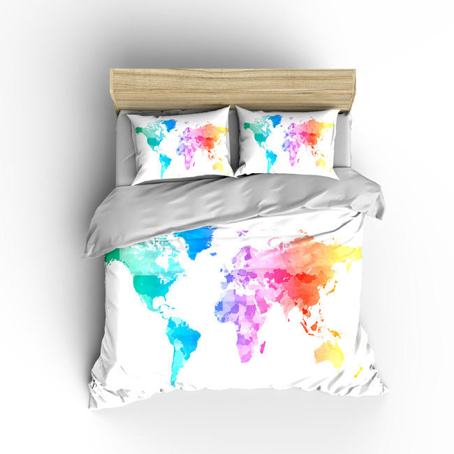 Pastel watercolors world map bedding thedezineshop custom bedding duvet cover watercolors on natural cream world map tw qu or gumiabroncs Gallery