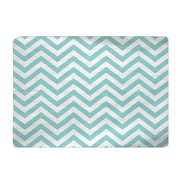 Blue Chevron Plush Fuzzy Area Rug - Size 48x30, 60x48, 96x44. 96x60-Other Colors available - Shown Sky & Robin Egg Blue Options