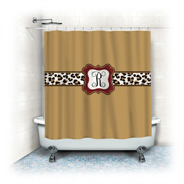 Personalized Shower Curtain - Custom with your Name or Initials - Elegant Gold with Leopard Accent