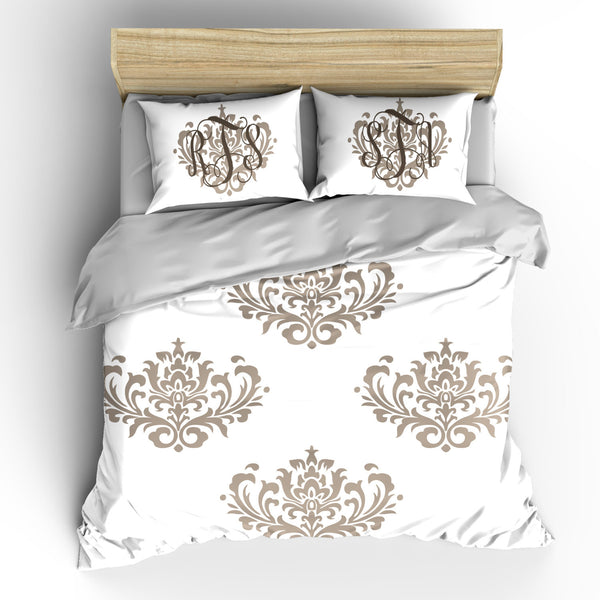 Custom Personalized Damask Elegance Bedding Ensemble -available Twin, Queen or King Size - Any Color