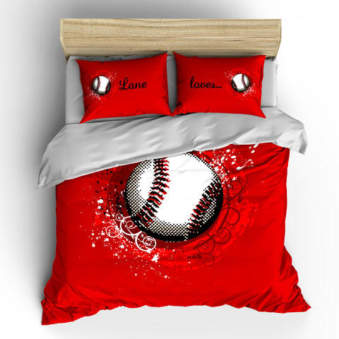 Monogrammed Red Baseball Comforter & 2 Pillowcovers Personalized with your initials or instructions