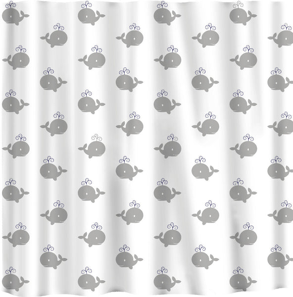 Personalized Shower Curtain Grey Whales Nautical Theme