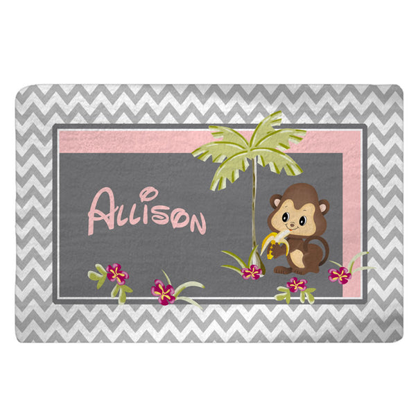 Monkey Theme Plush Fuzzy Area Rug -Grey and White  Chevron with Pink Accent- Size 48x30, 60x48, 96x44. 96x60-Other Colors available