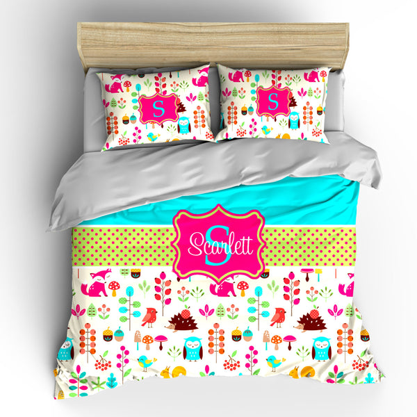 Custom Personalized Foxy in Pink Bedding- Toddler, Twin, Queen or King size - Your Choice of Colors Background or graphics