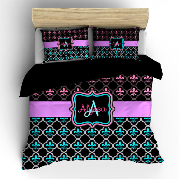 Pesonalized Custom Fleur de Lis Bedding  - available in Toddler, Twin, Queen or King Duvet Cover or Comforter Option