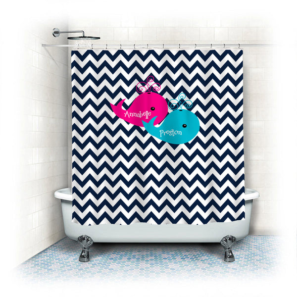 Shower Curtain Navy Blue Chevron with Hot Pink and Turquoise Whales