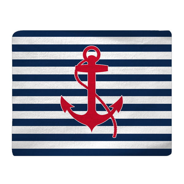 Personalized Color- Navy & White Stripe with Red or Navy Anchor Plush Fuzzy Rug- Size 48x30, 60x48, 96x44, 96x60 - any color any design
