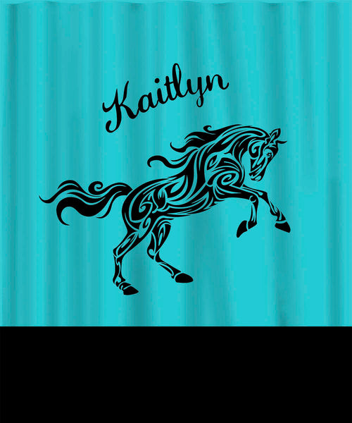 Personalized Shower Curtain - Tribal Horse Theme - Any Colors - Your Personalization and Accents ex long special size 70x84