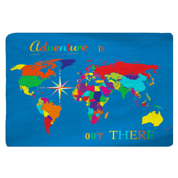 World Map Plush Fuzzy Low Profile Rug  Adventure Is Out There in BRIGHT colors