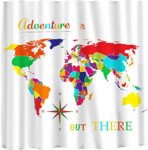 Brights World Map Shower Curtain -Adventure is Out There Novelty Saying - Shown White or Med Blue Versions