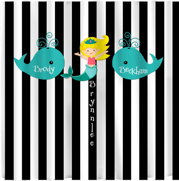 Whales and Mermaid Shared Shower Curtain -Black and White Bold Stripe - Turquoise Whales and Blonde Mermaid
