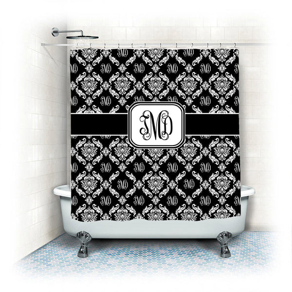 Personalized Shower Curtain -Designer Monogram and Damask- Available any color