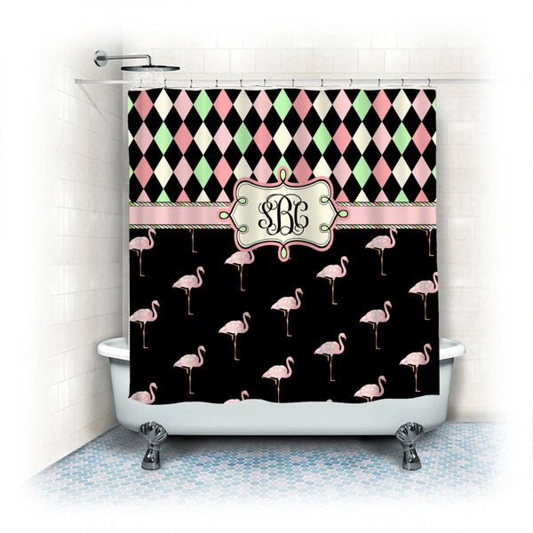 Personalized Designer Shower Curtain - Harlequin & Pink Flamingos, Two Sizes available