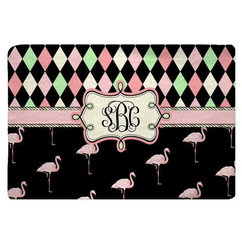 Plush Designer Harlequin & Pink Flamingo Bath Mat - 30x20 or 48x36 inches - Designed to match any shower curtain design