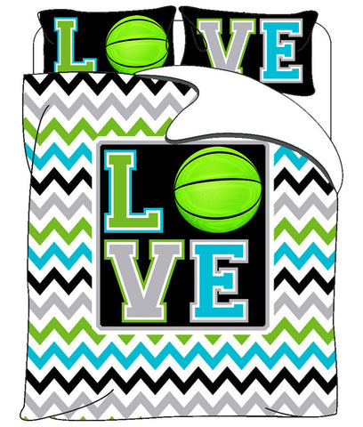 Monogrammed Love Basketball & Chevron  bedding - Twin, Queen, King and Toddler Size