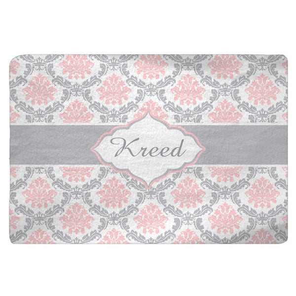 Damask Pink, Grey, White Plush Fuzzy Area Rug -Size 48x30, 60x48, 96x44, 96x60-Other Colors available