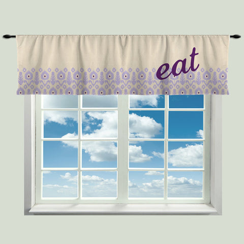 Custom EAT Window Curtain, Tan Linen LOOK Background, Purple-Lavendar Ikat Border Design,  Any Size - Any Colors