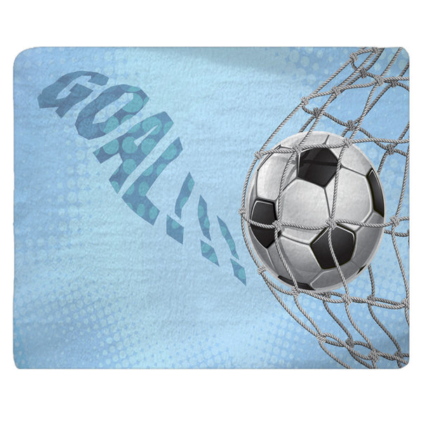 Custom Personalized Soccer Goal Fuzzy Area Rug - Size 48x30, 60x48, 96x44, 96x60 -Baby Blue Color