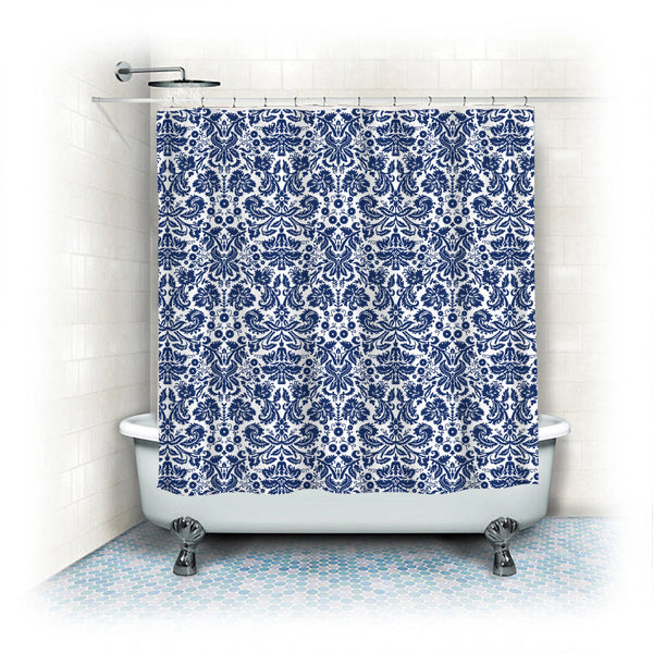 Custom Classic Damask Shower Curtain -Shown Navy and White, Two Sizes Available, Any Colors Your Choice