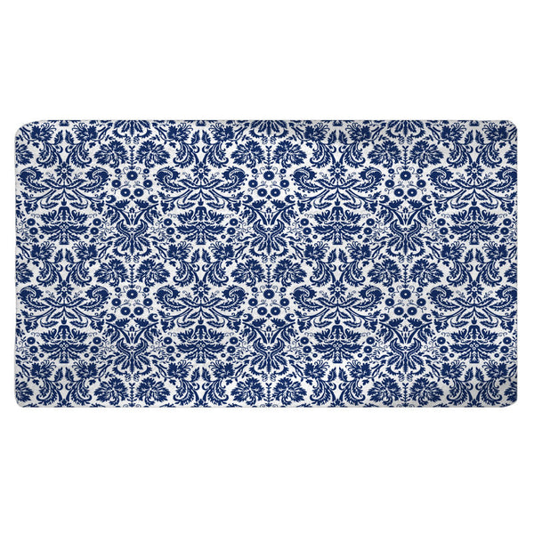 Classic Navy & White Damask Bath Mat - 30x20 or 48x36 inches - Designed to match any shower curtain design