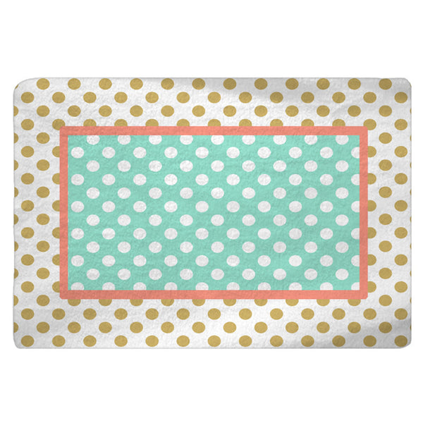 Gold-White-Coral-Mint Polka Dots Nursery Fuzzy Area Rug -Size 48x30, 60x48, 96x44, 96x60-Other Colors available