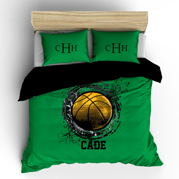 Monogrammed Basketball bedding- Ball with Splash Celtic Green Colors - Personalized with your initials - Toddler, Twin, Queen or King Size