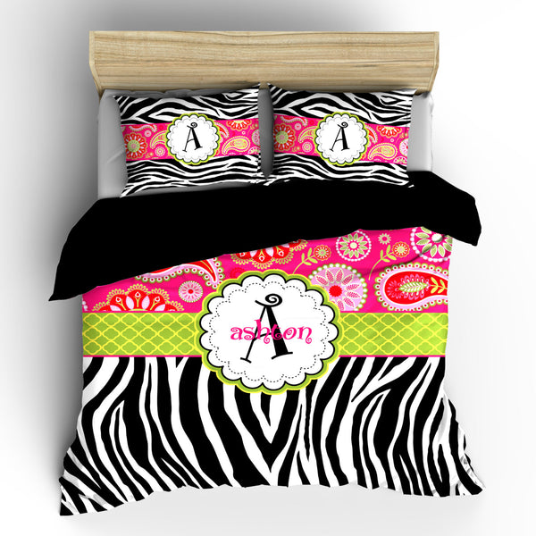Personalized Custom  Paisley and Zebra Bedding Duvet Cover and pillowcovers - Available Twin, Queen, King size