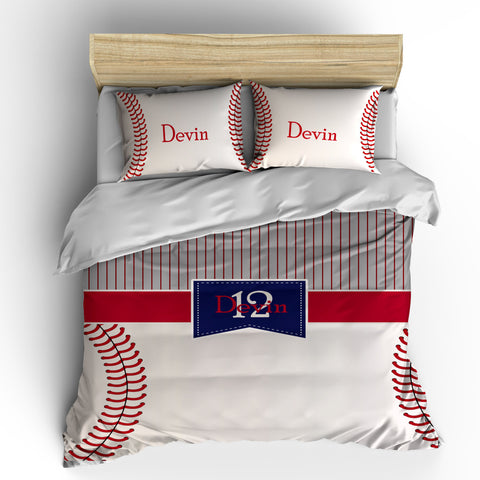 Monogrammed Baseball Stripes and Stitches Bedding - Stripe top - stitch look baseball bottom - Your monogram - can change colors
