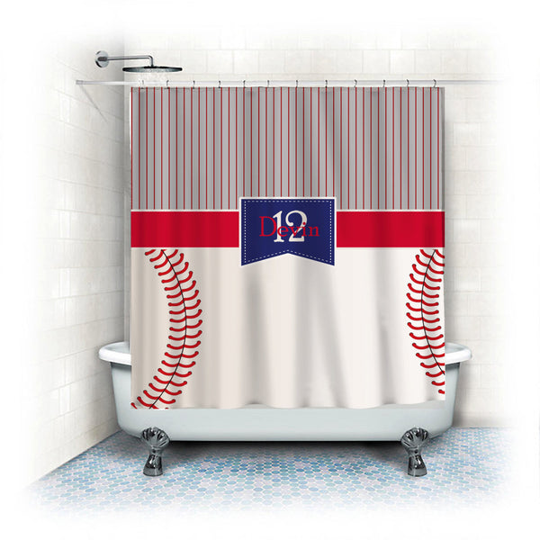 Monogrammed Baseball Stripes and Stitches Shower Curtain- Stripe top - stitch look baseball bottom - Your monogram - can change colors