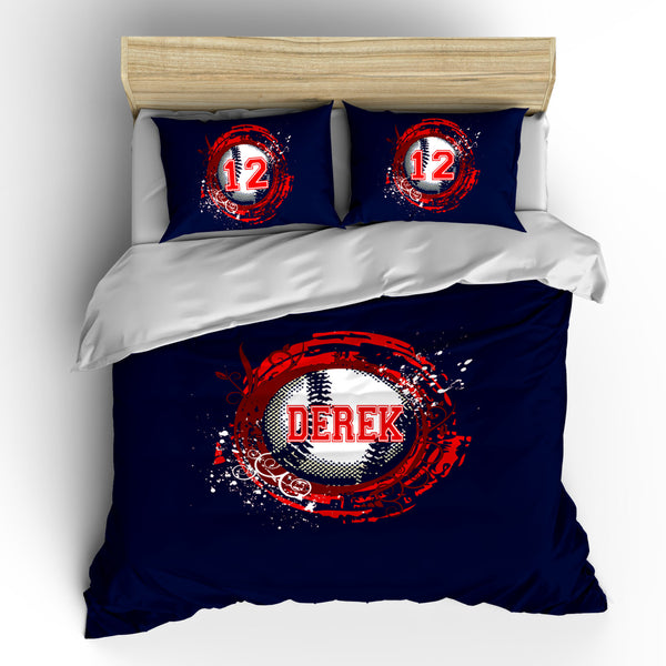 Monogrammed Baseball Bedding - Shown Navy & Red, Also Royal and Orange  -Personalized with your initials or instructions - Any Colors