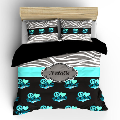 Monogrammed Softball & Zebra Bedding-  Silver Grey Zebra, Charcoal-Mint-Turq-LtAqua Heart Love Softball- available Twin-Queen or King Size