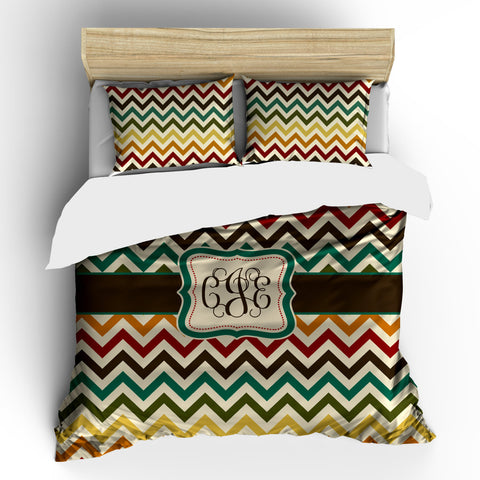 Personalized Custom  Duvet Cover-Warm Multi Colors Chevron - Available Twin, Queen or King