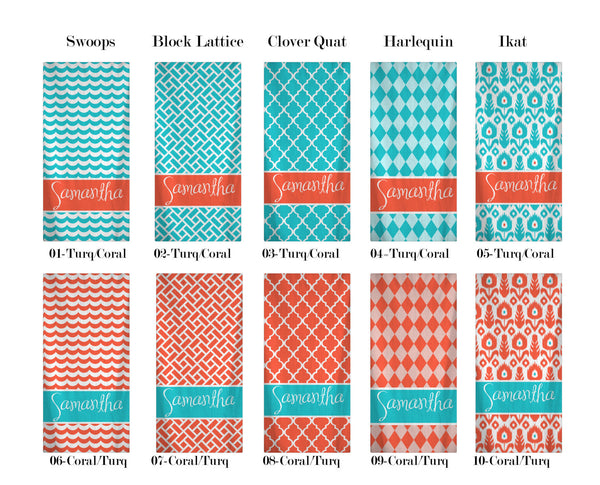 Custom Personalized Beach Towels -Five Patterns - Ten Colors - Coral and Turquoise Combo Pattern