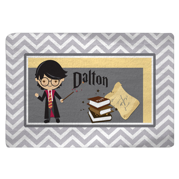Personalized Chevron Boy Wizard Plush Fuzzy Area Rug - Size 48x30, 60x48, 96x44, 96x60- any color and accents- any design