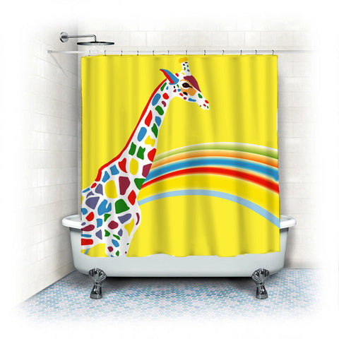 Bright and Sunny Yellow with Rainbow Colors - Zebra or Girafe