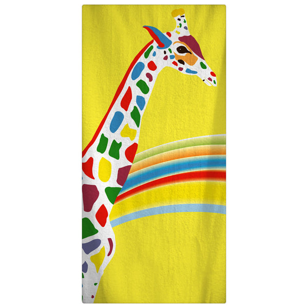 Custom Personalized Rainbow GiraffeTowel -  Yellow with rainbow color giraffe -Color and Personalization of your choice