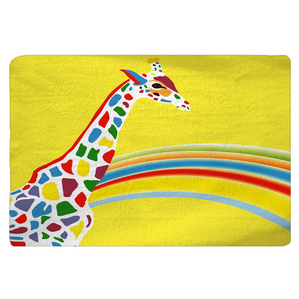 Rainbow Giraffe Custom Bath Mat - 30x20 or 48x36 inches - Designed to match our same shower curtain design - Can Personalize