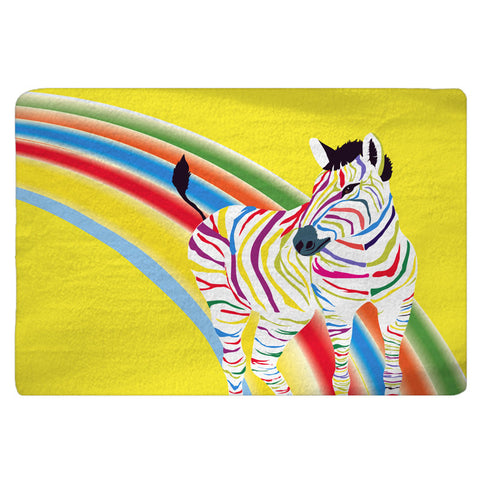 Rainbow Zebra Custom Bath Mat - 30x20 or 48x36 inches - Designed to match our same shower curtain design - Can Personalize