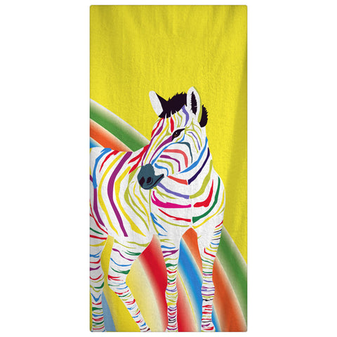 Custom Personalized Rainbow ZebraTowel -  Yellow with rainbow color zebra -Color and Personalization of your choice